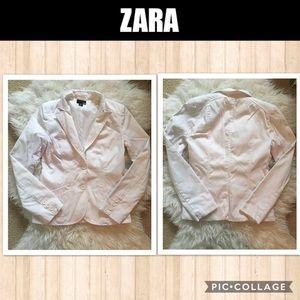 Zara White Cotton Lined Blazer Size 8 US / 38 EUR